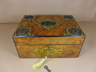 ANTIQUE VICTORIAN BURR WALNUT GOTHIC REVIVAL JEWELLERY/SEWING  BOX.C1870 (Cd 504 2