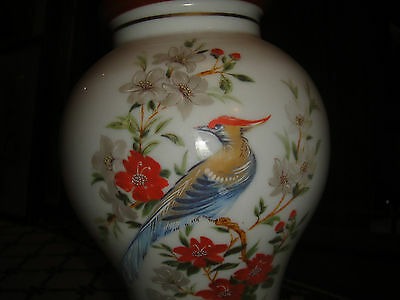 Superb Vintage Glass Lampshade-Painted Birds & Flowers-Bulbous Shape-Large-LQQK 8
