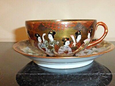 "Antique Japanese Kutani Porcelain GEISHAS Cup Signed ""Dai Nippon Nakamura"" 3"