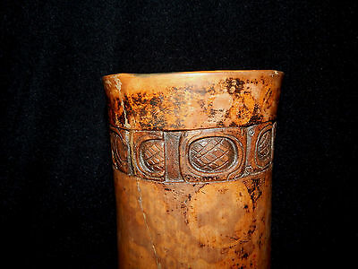 Mayan Cosmic and Serpent Cylinder, Carved Glyph Band, Authentic Pre-Columbian 4