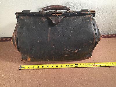 10 Of 12 Vintage Antique Large Leather Doctor S Medical Bag Lined 16 X