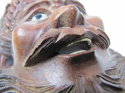 old Small Carved Asian Wood Man Devil Dogs Exquisite Detailing Eyes Teeth -ma8 4
