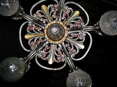 Antique Art Deco Victorian Cast Metal Chandelier Ceiling Light Fixture 20's 5