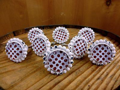 8 WHITE RED DOT FLOWER GLASS DRAWER CABINET PULLS KNOBS VINTAGE chic hardware 2