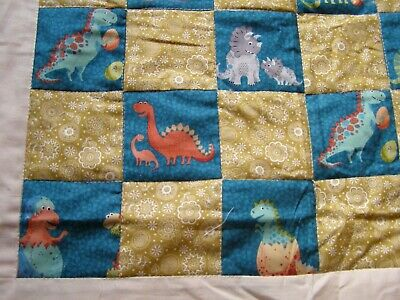 Handmade Teal Dinosaurs Baby Quilt
