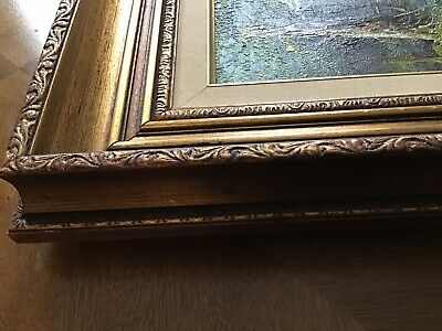 Vintage European oil on canvas painting, house near river 9