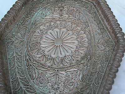 A Fine Solid Silver Antique Middle Eastern Hand Made Filigree Master Piece Tray 2