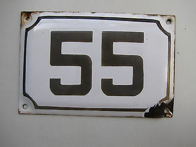 vintage ISRAELI enamel porcelain number 55 house sign # 55 CHRISTMAS SALE ! 2