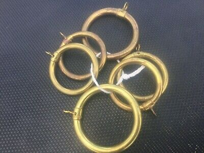 6 VINTARE BRASS CURTAIN RINGS STAMPED MADE IN ENGLAND  4 @ 43mm & 2 @ 53mm DIA 2