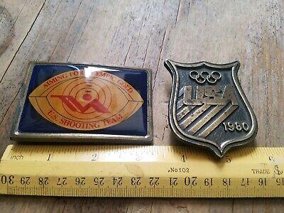 Lot of (2) VINTAGE 1980s USA Olympics BRASS Belt Buckles Commemorative 9