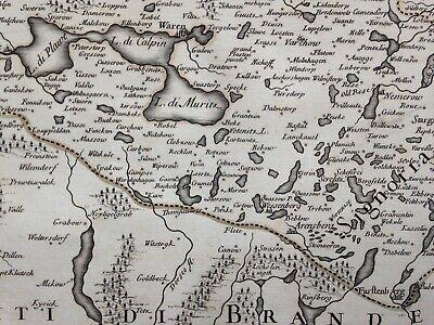 Germany Mecklenburg Dated 1692 Giacomo De Rossi Large Antique Engraved Map 6
