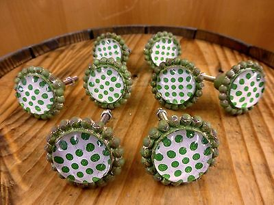8 GREEN SUN FLOWER GLASS DRAWER CABINET PULLS KNOBS VINTAGE chic garden hardware 3