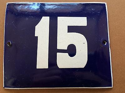 ANTIQUE VINTAGE FRENCH ENAMEL SIGN HOUSE NUMBER 15 DOOR GATE BLUE 1950's