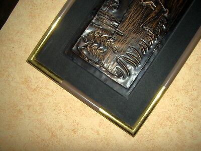 AFRICA/ART  ZAIRE   AGRICULTEURS MOISONNANT     CUIVRE   CADRE & P.P   85x30 cm 5