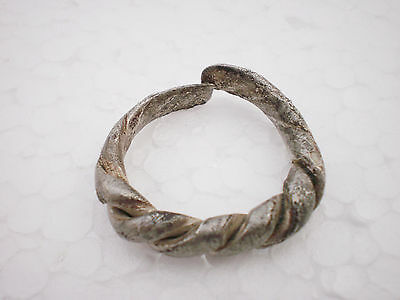 ANCIENT RARE Authentic Viking Twisted Silver FINGER RING ca 9 - 10 century AD