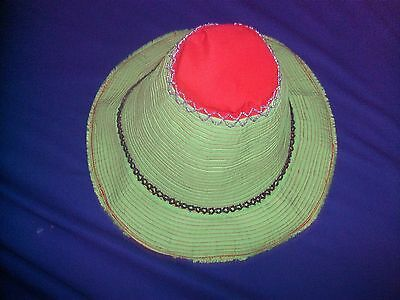 Traditional Women Ladies Cambodian Sun Hat - Green Local Farmer Design Hat 2