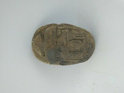ANCIENT EGYPTIAN ANTIQUE SCARAB Carved White Carved Stone 1456-1256 BC 4