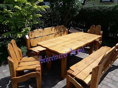 Rustikale Gartenmöbel Massivholz Terrassenmöbel Sitzgarnitur