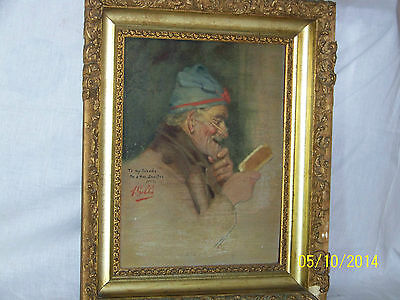 """Rare"" Alpenore Gobbi Antique Original Oil On Panel Side Portrait Painting 11"