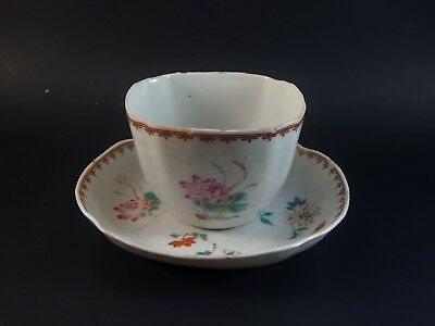 Antique Chinese Export Famille Rose Quatrafoil Cup Saucer Ch'ing  Era  C.1745