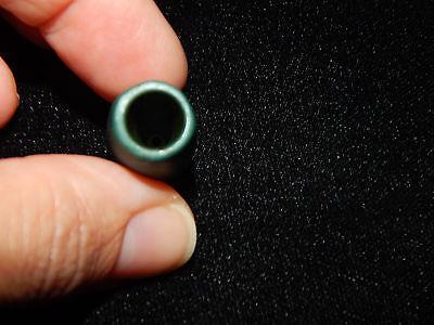 Pre-Columbian Green Jade Tubular Bead, Blue-Green Jade, Wide Mouth Hole 7