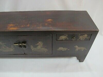 A Chinese Antique Brown Color Wood Kang Low / TV display Table / Stand 39'' Wide 9