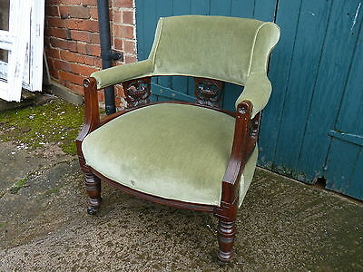 Antique Edwardian Carved Mahogany Captain's Library Chair Tub Upholstered Green 3