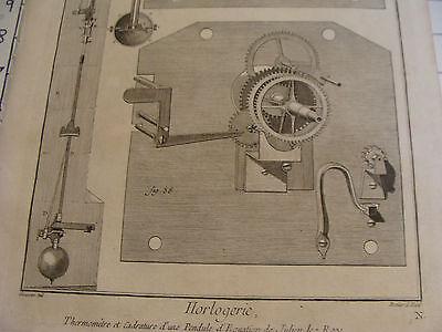 """Original engraving 1760's 10 1/2 x 16"""" THERMOMETRE ET CADRATURE DUNE PENDULE 3"""
