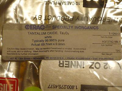 "Tantalum Oxide Ta2O5 white 99.995% pure 1lb 16oz  3.5"" round disc sealed Cerac 4"