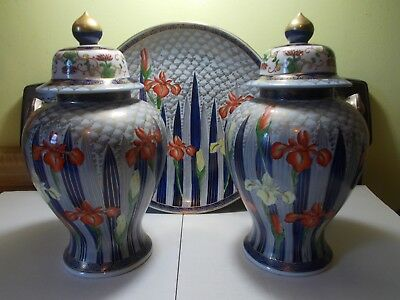 "Two Beautiful Large 14"" Porcelain Urns & Large Wall Plaque 2"