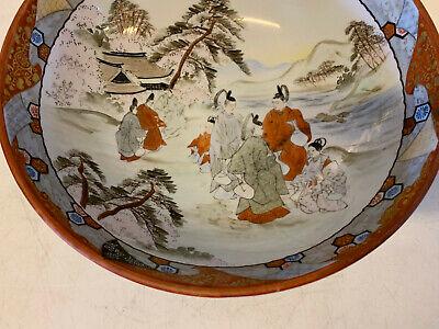 Antique Japanese Signed Kutani Porcelain Bowl w/ Figures in Landscape Decoration 3