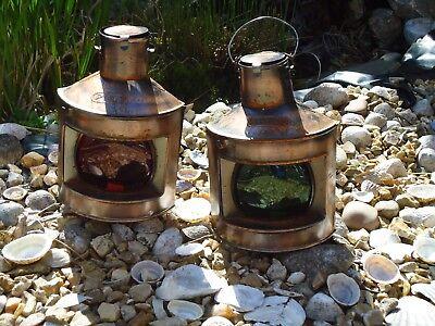 Ships Port Side & Starboard Copper Lanterns - Lamp-Portside Masthead Red Green r 3