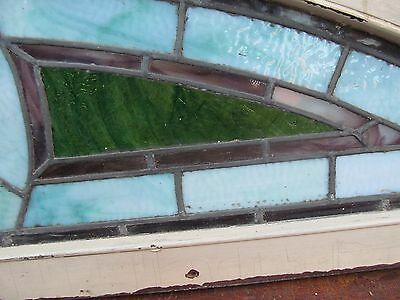 """Antique Judaic Stained Glass Transom Window In Frame - 80"""" Long 6"""