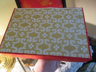 Vtg Asian Chinese Ebony Wood Jewelry Box White Jade Medallion Brass Mounts 10
