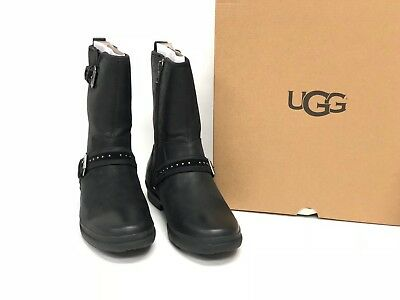 02042aac632 UGG AUSTRALIA JENISE Black Stud Boots 1018997 Waterproof WP Buckle Deco  Women's