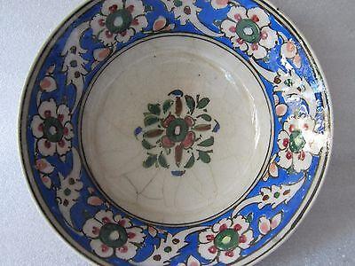 Beautiful Antique Iznik Turkish Ottoman Faience Pottery Hand Painted Bowl 3