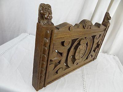 """14"" Antique French Oak Wood Carved Pediment Panel Ornament - Lions 6"