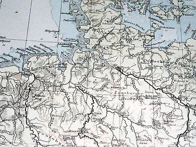 1896 Antique Original Physical Map Of Germany Poland Rivers Mountains 4