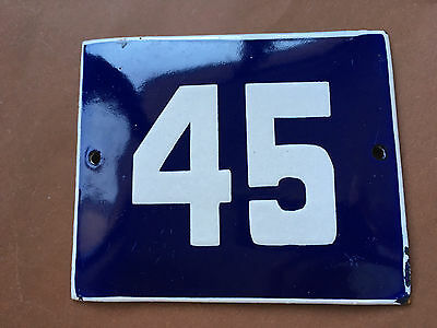 ANTIQUE VINTAGE ENAMEL SIGN HOUSE NUMBER 45 BLUE DOOR GATE STREET SIGN 1950's