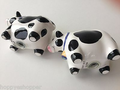 Salt & Pepper Shakers Handcrafted Ceramic COWS BLACK WHITE COW Mint 4