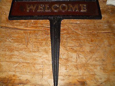 Cast Iron DUCK WELCOME Sign Garden Stake Home Decor Mallard Pond Plaque Fowl 2