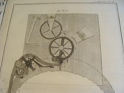 """Original engraving 1760's 10 1/2 x 16"""" PENDULE A EQUATION PAR LE SIEUR BETHOUD 2"""