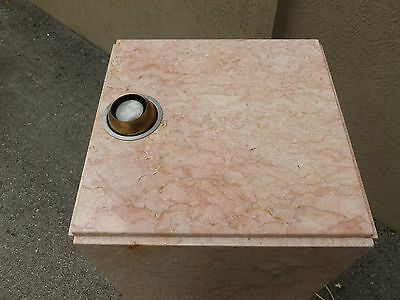 Tall Mid Century 70's  Pink Marble Pedestal W Built In Brass Light # 1 - P 5