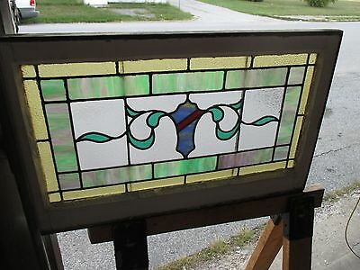 ~ ANTIQUE AMERICAN STAINED GLASS TRANSOM WINDOW 31.5x19.5 ARCHITECTURAL SALVAGE 2