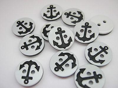 23mm 36L White Anchor Shank Craft Children Cardigan Thin Plastic Button W604