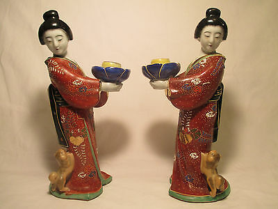 Japanese antique geshia girl kutani figurine art vtg fu dog statue imari pottery 6