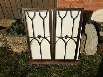 Pair of antique Cuban Mahogany astral glazed cupboard doors 2