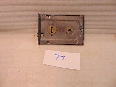 Antique Duel Handled Brass And Steel Rim Door Lock  77 2