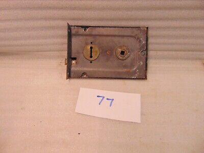 Antique Duel Handled Brass And Steel Rim Door Lock  77 2