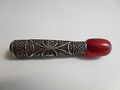ANTIQUE VINTAGE Silver FILIGREE RED AMBER SMOKING PIPE CIGARETTE-HOLDER RARE! 4